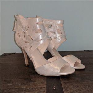 Nine West champagne cage high heels